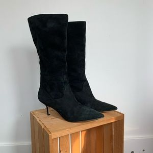 Suede Marc Fisher boots with mid heel